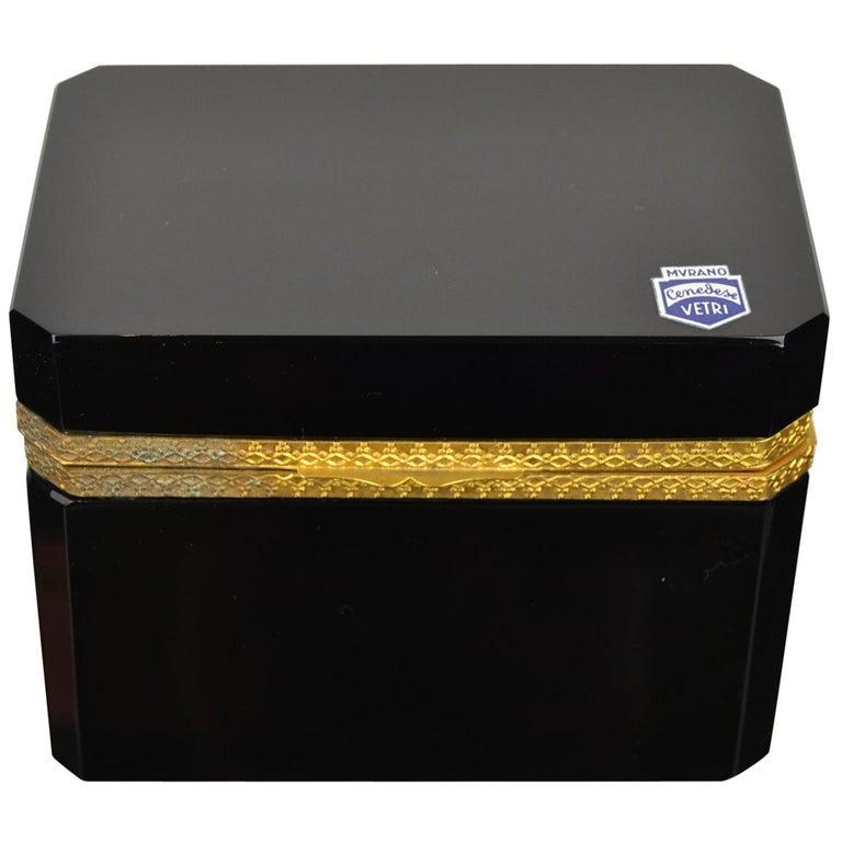 Cenedese Murano Black Jewelry Box, 1950s For Sale