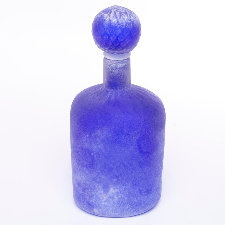 Italian Cenedese Murano Glass Blue Scavo Style Decanter For Sale