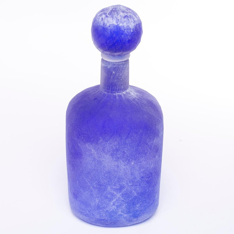 Cenedese Murano Glass Blue Scavo Style Decanter In Excellent Condition For Sale In Troy, MI