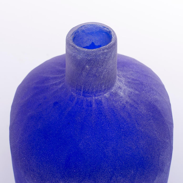 20th Century Cenedese Murano Glass Blue Scavo Style Decanter For Sale