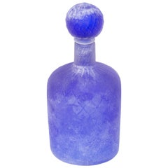 Cenedese Murano Glass Blue Scavo Style Decanter