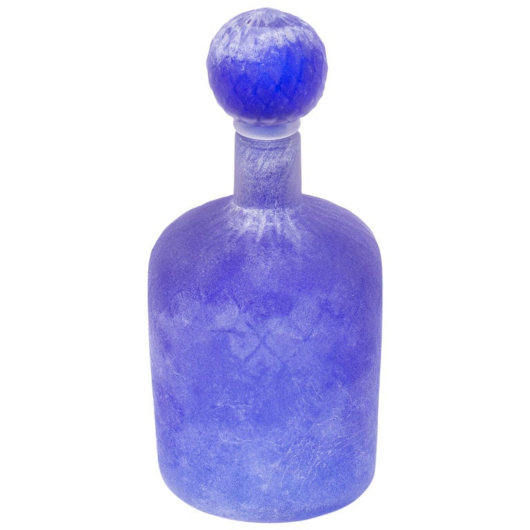 Cenedese Murano Glass Blue Scavo Style Decanter For Sale