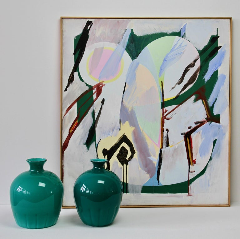 Set - featuring a pair of Italian teal green Murano glass vases by Cenedese, circa 1970-1990 and a wonderful informal abstract modernist oil painting signed by German artist Walter Wohlschlegel (1907-1999). This piece is titled 'Hochsommer' (high