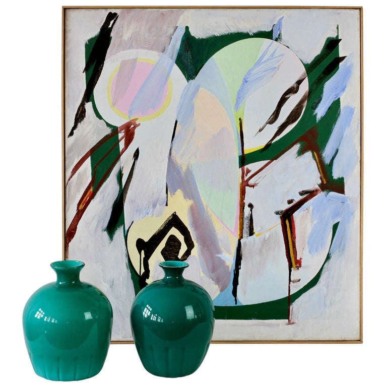 Cenedese Murano Glass Vase Set and Walter Wohlschlegel Abstract Painting For Sale