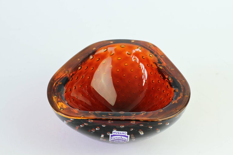 Vintage Cenedese Murano Italian Amber Glass Bullicante Bubble Bowl or Ashtray For Sale 1