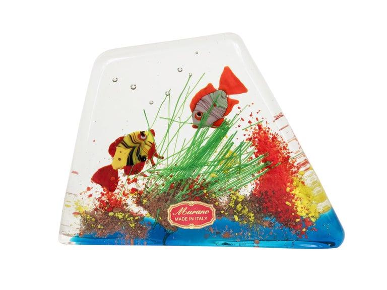 Mid-Century Modern Cenedese Murano Italian Art Glass Two Fishes Aquarium Block For Sale