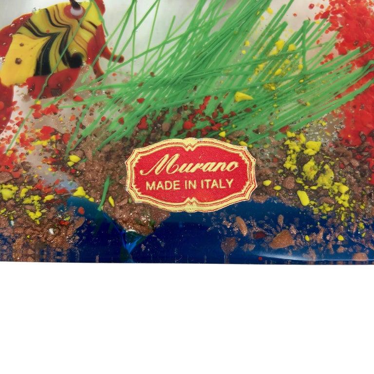 Mid-20th Century Cenedese Murano Italian Art Glass Two Fishes Aquarium Block For Sale