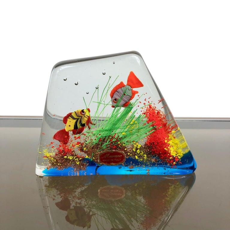Blown Glass Cenedese Murano Italian Art Glass Two Fishes Aquarium Block For Sale