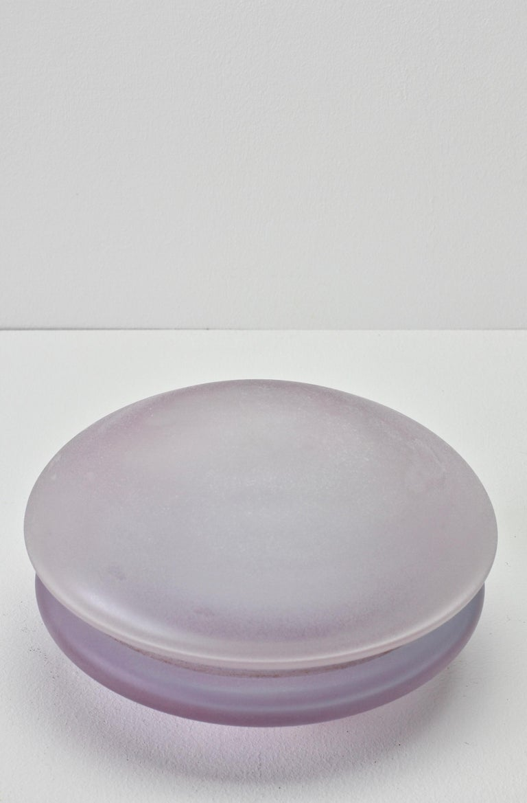Murano glass bowl by Cenedese. Wonderful translucent lilac with the textured look and feel of acid-etched glass - very similar to the 'scavo' finish that Cenedese are famous for.. Simplistic yet elegant form - almost futuristic. Perfect to use in