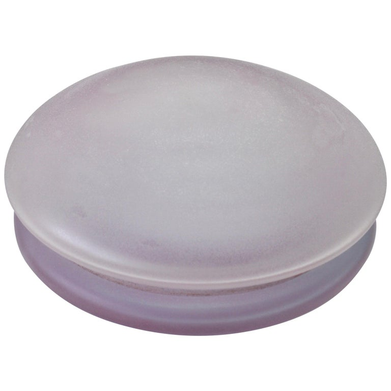 Cenedese Vintage Murano Lilac Colored Lidded Frosted Glass UFO Bowl or Dish For Sale