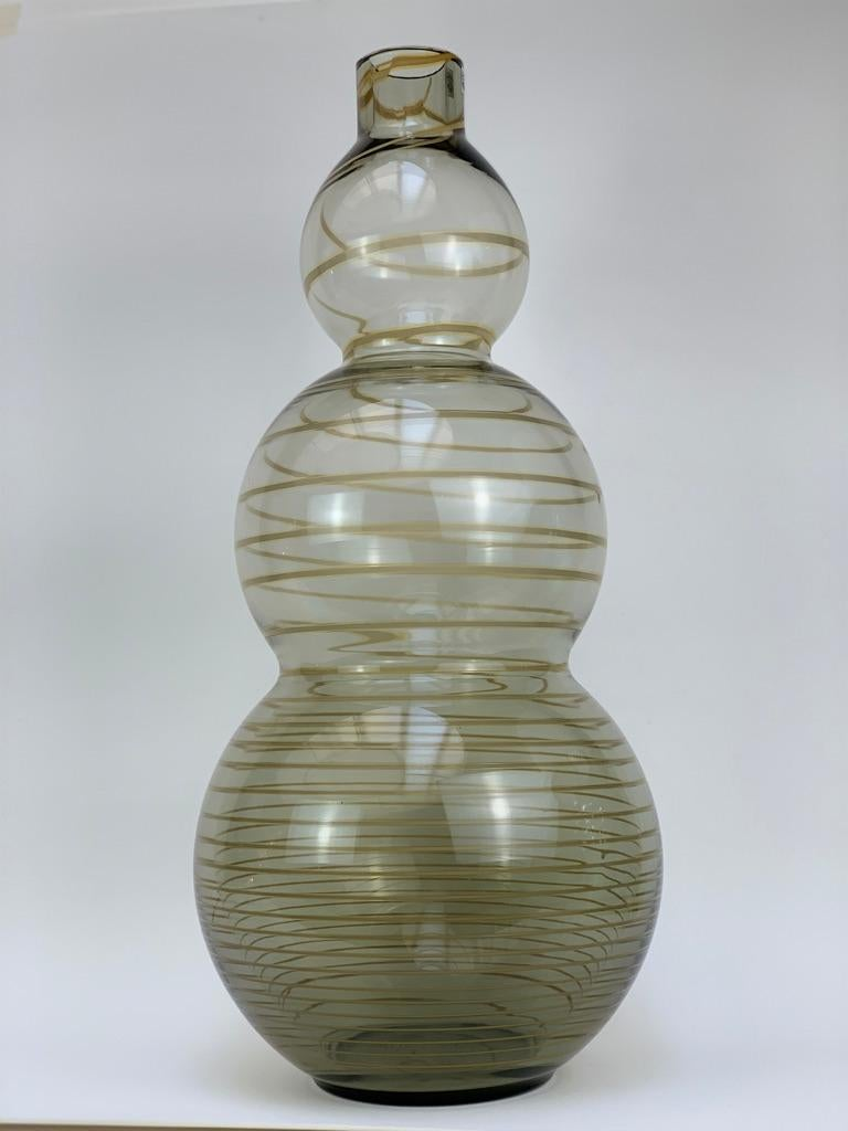 Mid-Century Modern Cenedese Murano Mid Century Blown Glass Big Vase Signed For Sale