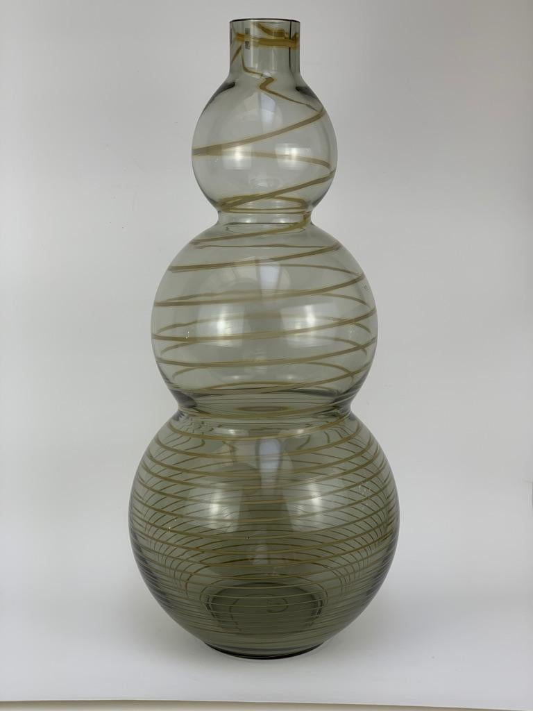 Italian Cenedese Murano Mid Century Blown Glass Big Vase Signed For Sale