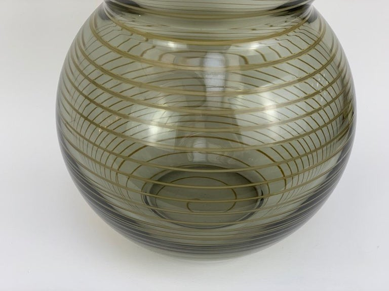 Mid-20th Century Cenedese Murano Mid Century Blown Glass Big Vase Signed For Sale