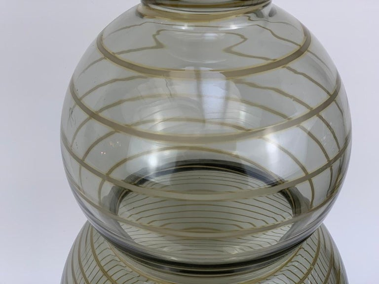 Murano Glass Cenedese Murano Mid Century Blown Glass Big Vase Signed For Sale
