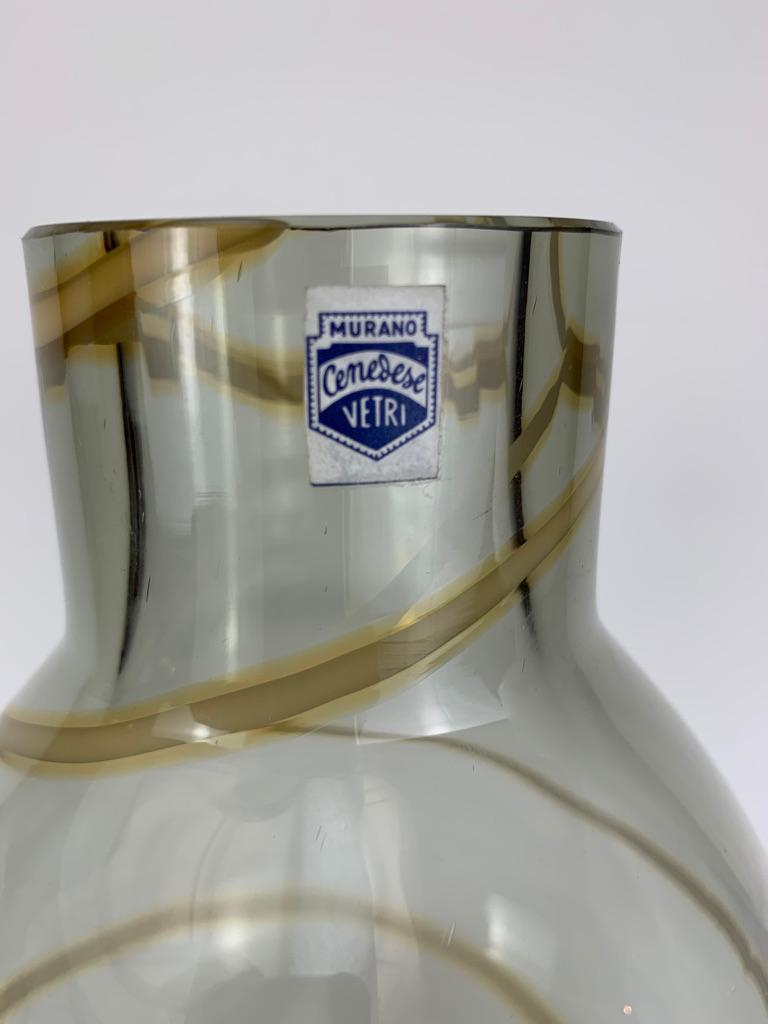 Cenedese Murano Mid Century Blown Glass Big Vase Signed For Sale 2