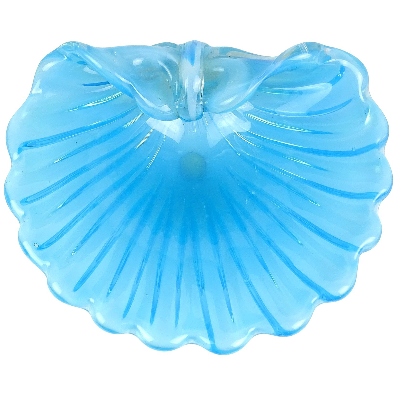 Cenedese Murano Opalescent Blue White Italian Art Glass Fan Shape Seashell Bowl