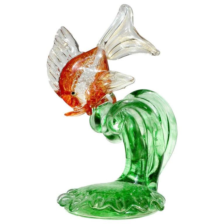 Cenedese Murano Orange Silver Gold Leaf Fins Italian Art Glass Fish Sculpture For Sale