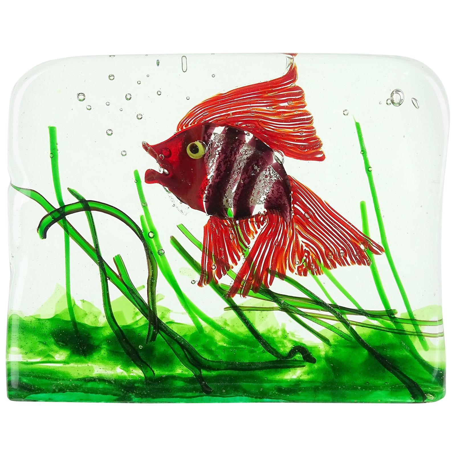 Cenedese Murano Red Purple Silver Flecks Italian Art Glass Fish Aquarium Block