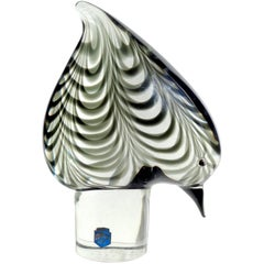Cenedese Murano Signed 1976 Pulled Feather Italian Art Glass Bird Sculpture
