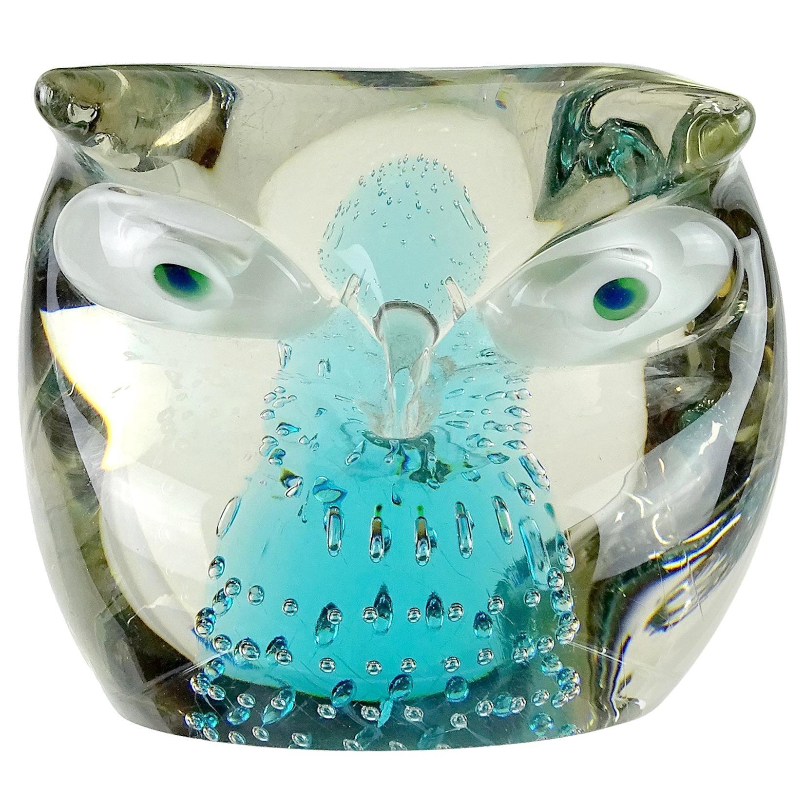Cenedese Murano Sommerso Blue Core Italian Art Glass Owl Sculpture Paperweight