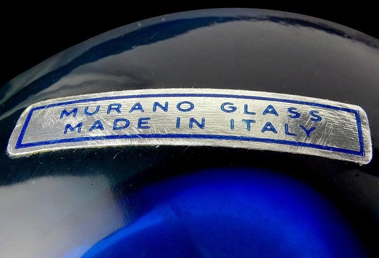 Mid-Century Modern Cenedese Murano Sommerso Light Blue Cobalt Italian Art Glass Flower Vase For Sale