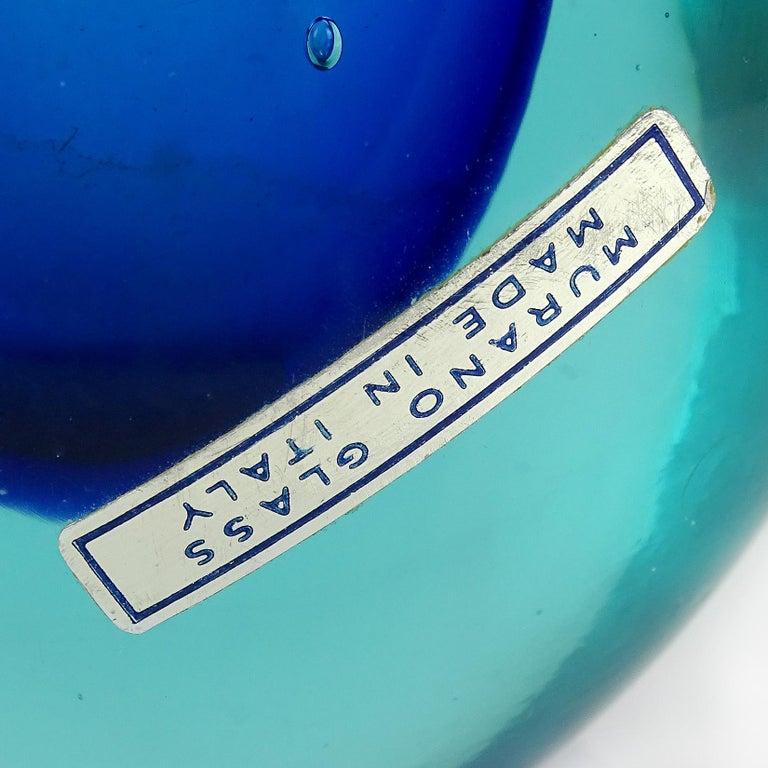 Hand-Crafted Cenedese Murano Sommerso Light Blue Cobalt Italian Art Glass Flower Vase For Sale