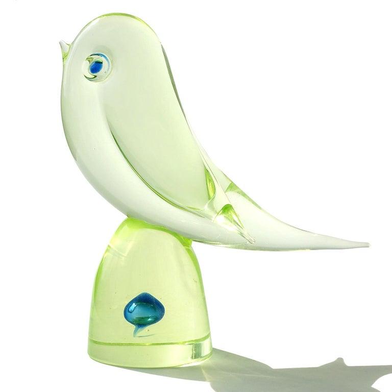 Hand-Crafted Cenedese Murano Uranium Green Blue Italian Art Glass Bird Figure Sculpture For Sale