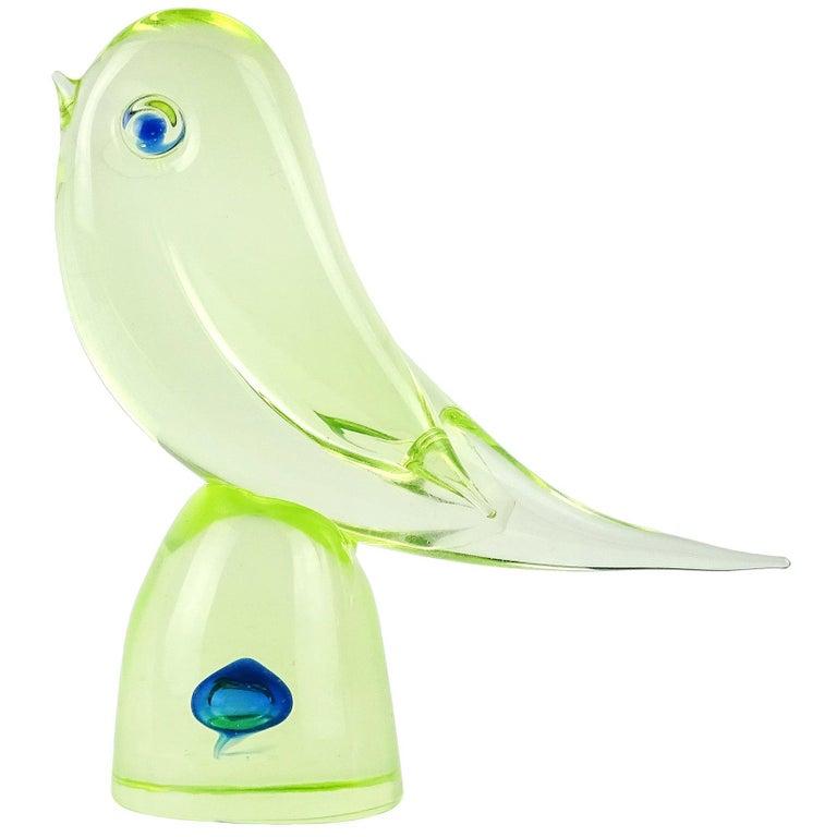 Cenedese Murano Uranium Green Blue Italian Art Glass Bird Figure Sculpture For Sale