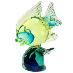 Cenedese Murano Uranium Green Blue Italian Art Glass Fish on Wave Sculpture