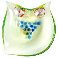 Cenedese Murano Uranium Star Murrine Silver Gold Leaf Italian Art Glass Owl Bowl