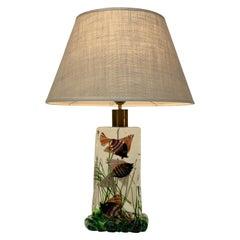 """Cenedese Murano Venice Italy Midcentury """"Acquario"""" Aquarium Glass Table Lamps"""