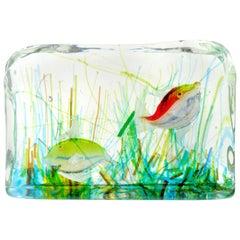 Cenedese Murano Yellow Red Gold Fish Italian Art Glass Aquarium Block Sculpture