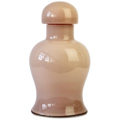 Cenedese Nude Pink Vintage Midcentury Italian Murano Art Glass Vase or Urn