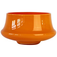 Cenedese Orange Vintage. Mid-Century Italian Murano Glass Vase or Bowl