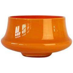 Cenedese Orange Vintage. Mid-Century Italian Murano Glass Vase or Bowl