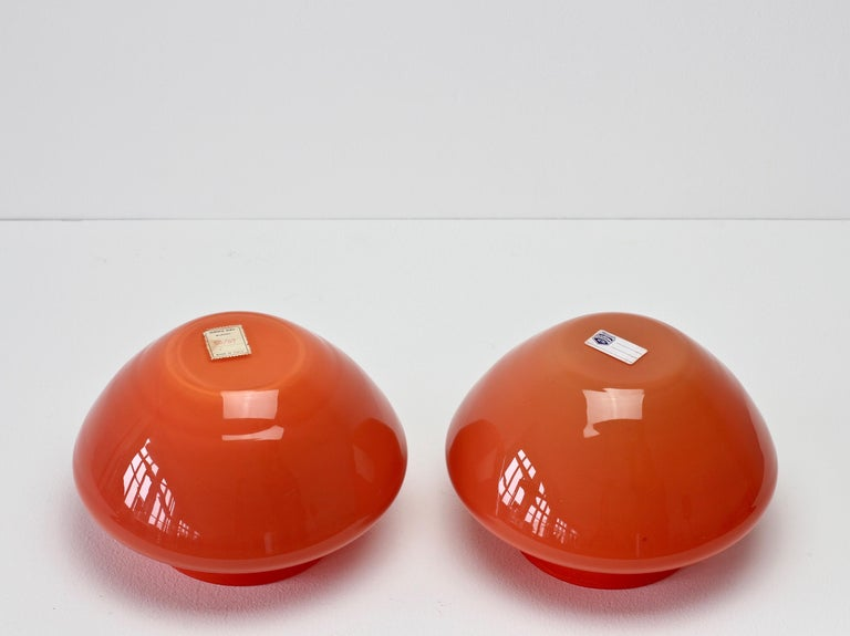 Cenedese Pair of Italian Red Murano Glass Bowls or Vases  10