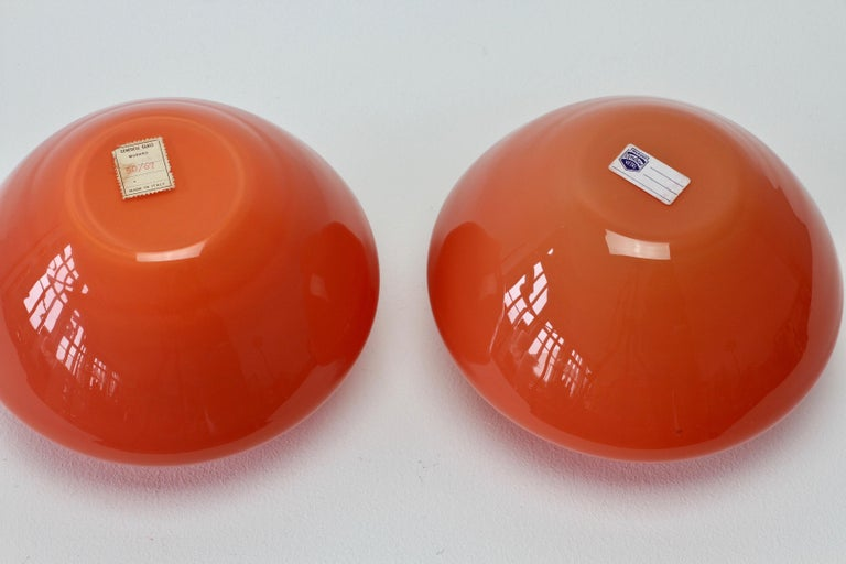Cenedese Pair of Italian Red Murano Glass Bowls or Vases  11
