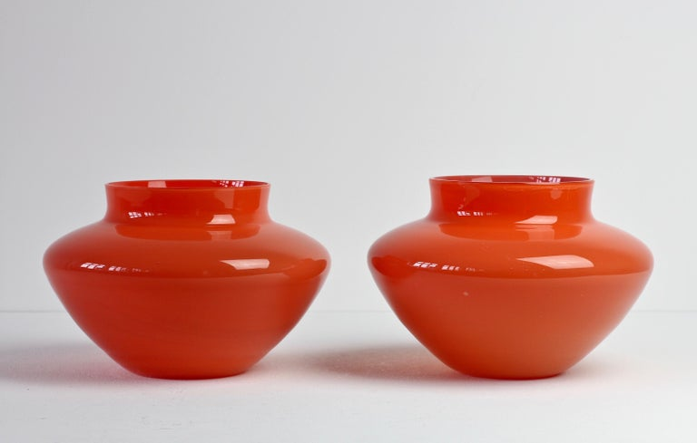 Cenedese Pair of Italian Red Murano Glass Bowls or Vases  2
