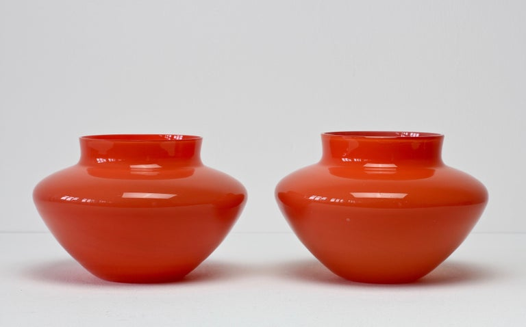 Cenedese Pair of Italian Red Murano Glass Bowls or Vases  3