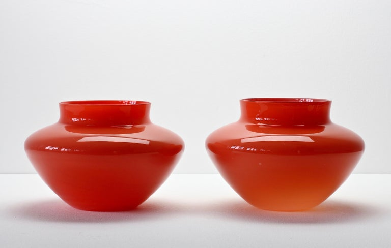Cenedese Pair of Italian Red Murano Glass Bowls or Vases  4