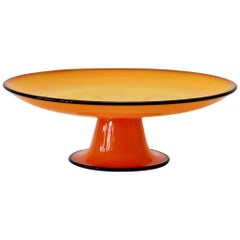 Cenedese Signed Vintage Murano Glass Vibrantly Colored Orange Glass Cake Stand