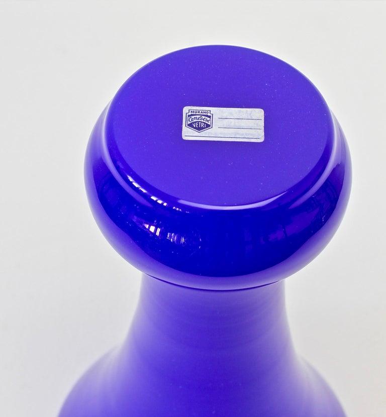 Cenedese Tall Blue Vintage Italian Murano Glass Urn or Vase 8