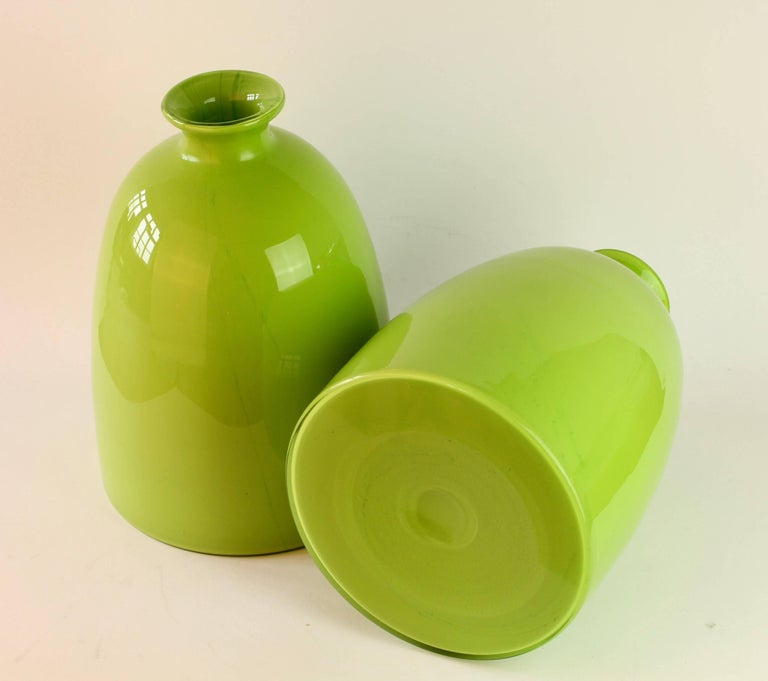 Blown Glass Colorful Tall Pair of Green Vintage Italian Murano Glass Vases by Cenedese For Sale