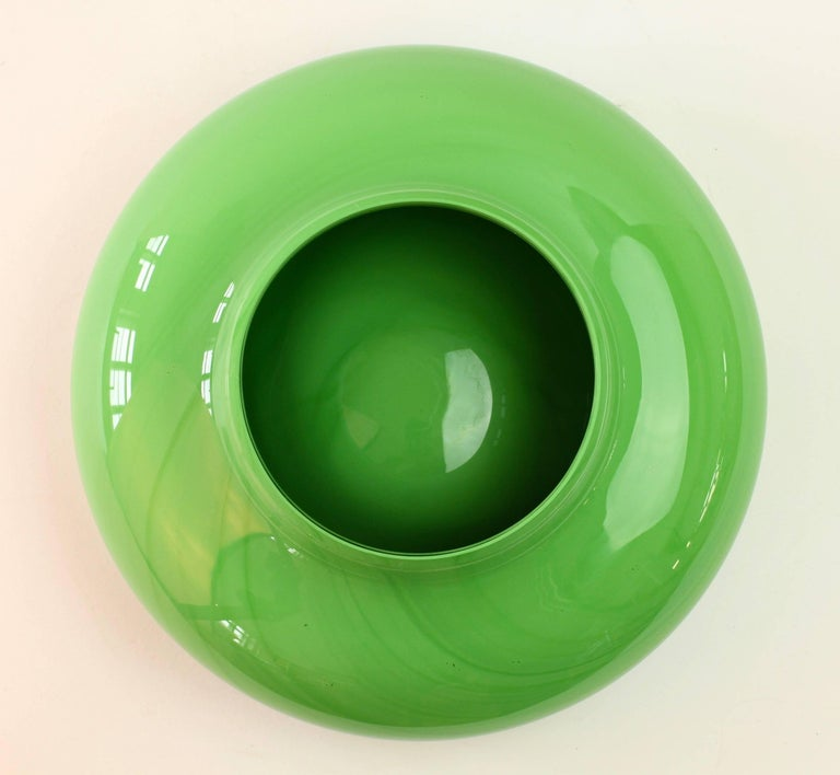Cenedese Trio Of Green Red And Yellow Italian Murano Glass Bowls Or