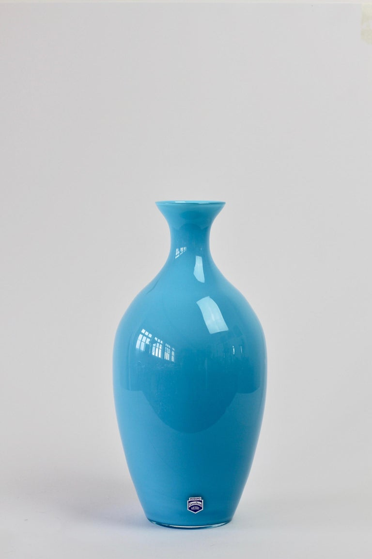 Cenedese Vintage Blue Italian Murano Glass Vase For Sale 4