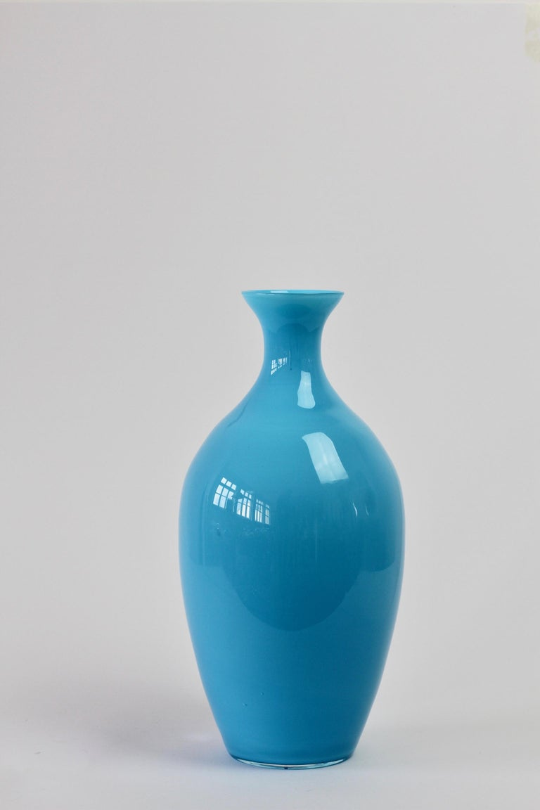 Cenedese Vintage Blue Italian Murano Glass Vase For Sale 5
