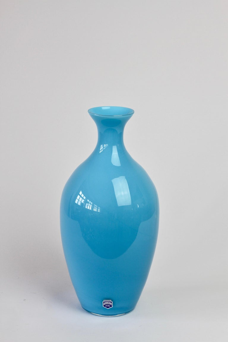 Cenedese Vintage Blue Italian Murano Glass Vase In Excellent Condition For Sale In Landau an der Isar, Bayern