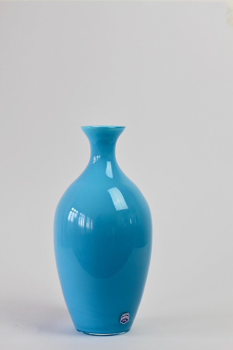 20th Century Cenedese Vintage Blue Italian Murano Glass Vase For Sale