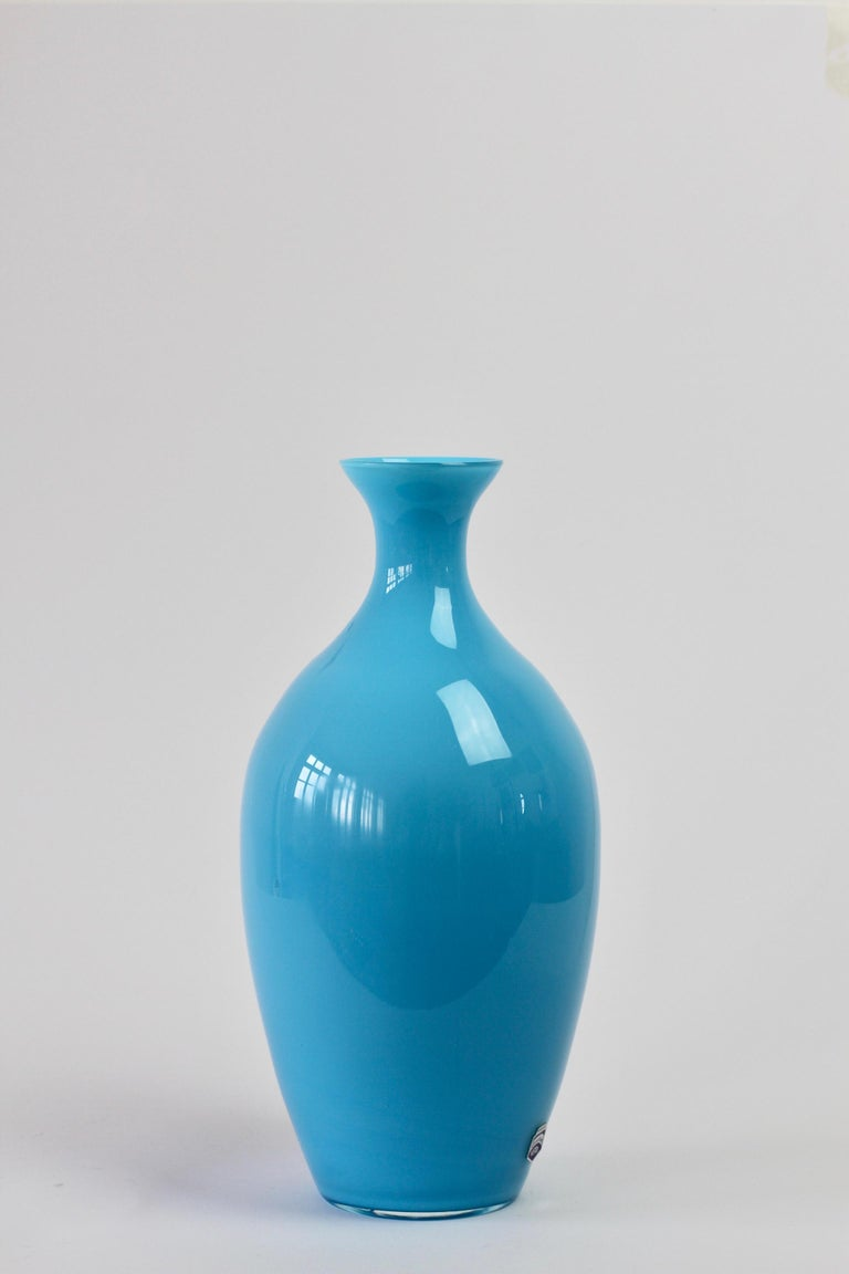 Blown Glass Cenedese Vintage Blue Italian Murano Glass Vase For Sale