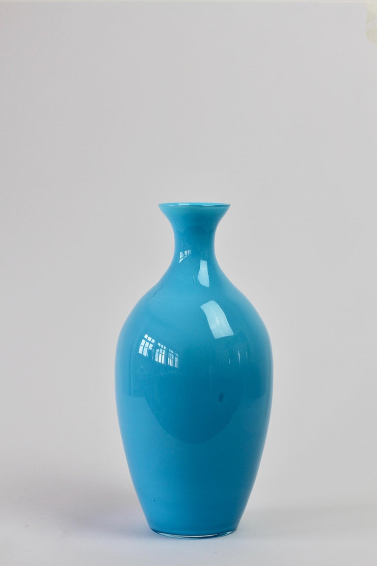 Cenedese Vintage Blue Italian Murano Glass Vase For Sale 1